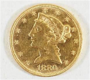 1880P $5 LIBERTY HEAD GOLD COIN