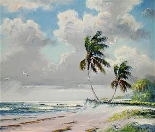 SAM NEWTON HIGHWAYMEN RIO MAR BEACH PAINTING