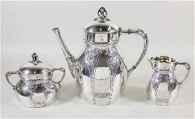 RUSSIAN HALLMARKED AESTHETIC SILVER TEA SET