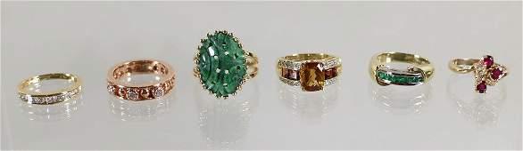 (6) 14K DIAMOND RUBY EMERALD JADE CITRINE RINGS