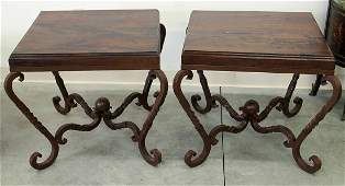 (2) MESQUITE WOOD & INLAID CORAL IRON END TABLES