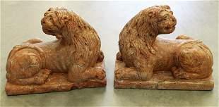 PAIR OF ANTIQUE ITALIAN GRAND TOUR MARBLE LIONS