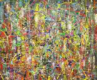 MIMMO AMELIO ABSTRACT PAINTING COLOR OF ILLUSION