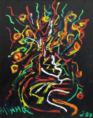 MIMMO AMELIO ABSTRACT PAINTING FIORI IN ABSTRACTO