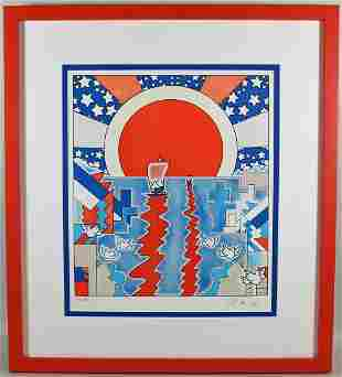 PETER MAX A.P. SAILING NEW WORLDS LITHOGRAPH