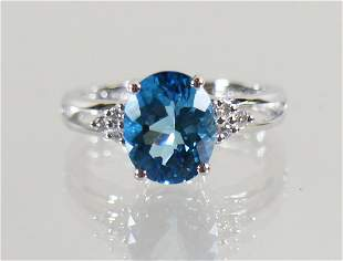 14K GOLD 2 CARAT LONDON BLUE TOPAZ DIAMOND RING