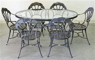 BROWN JORDAN PATIO TABLE & (6) CHAIRS