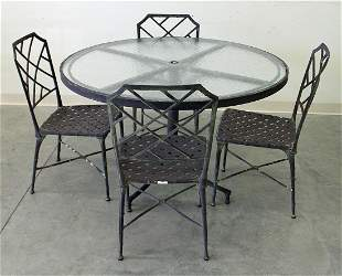 BROWN JORDAN ROUND PATIO TABLE & (4) CHAIRS