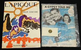 SONJA HENIE OLYMPIC PIN & LAPICQUE SIGNED BOOK