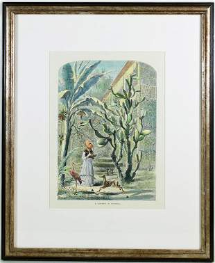 "HARRY FENN COLORED ""FLORIDA GARDEN"" ENGRAVING"