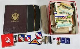 WWI WWII MILITARY BADGES, PATCHES, & EPHEMERA