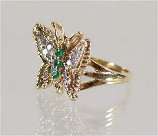 14K DIAMOND & EMERALD BUTTERFLY RING