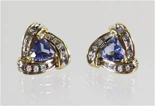10K TANZANITE & DIAMOND EARRINGS
