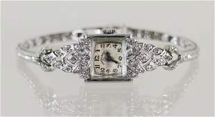 VINTAGE LADIES DIAMOND & PLATINUM HAMILTON WATCH