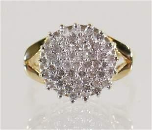 14K 1.00 TCW DIAMOND CLUSTER RING