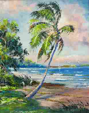 SAM NEWTON BEACH SCENE HIGHWAYMEN PAINTING