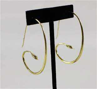 18KT HAND MADE SNAKE EARRINGS