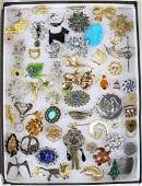 50 + VINTAGE COSTUME JEWELRY BROOCHES