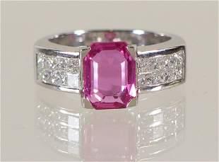 ZORAB DESIGN 18K PINK SAPPHIRE & DIAMOND RING