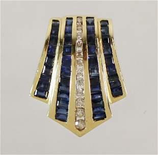 14K BLUE SAPPHIRE & DIAMOND SLIDE PENDANT