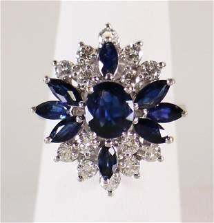 VINTAGE 18K BLUE SAPPHIRE & DIAMOND RING