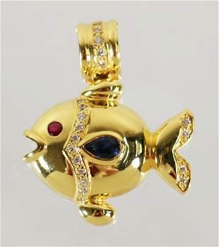 14K GOLD DIAMOND RUBY SAPPHIRE FISH PENDANT