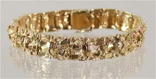 14K YELLOW GOLD NUGGET BRACELET