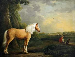 19TH CENTURY MAN FISHING WITH DOG & HORSE PAINTING