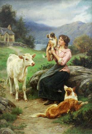 BASIL BRADLEY YOUNG WOMAN WITH ANIMALS PAINTING