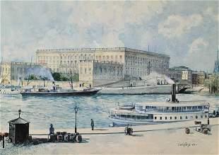 GUNNAR WIDFORSS ROYAL PALACE STOCKHOLM WATERCOLOR