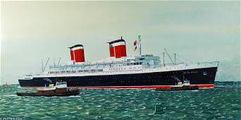 FRANK PATTERSON SS UNITED STATES WATERCOLOR