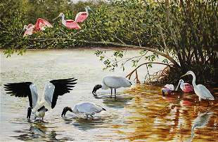 THOMAS DAWKINS BIRDS FEEDING PAINTING