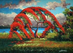 WILLIE DANIELS POINCIANA TREE HIGHWAYMEN PAINTING