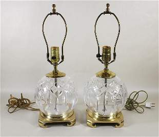(2) WATERFORD CRYSTAL TABLE LAMPS
