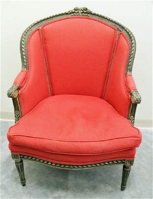 VINTAGE CARVED WING CHAIR