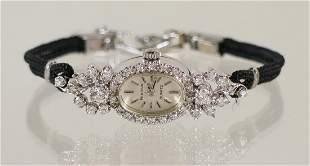 ART DECO 14KT WHITE GOLD DIAMOND BULOVA WATCH