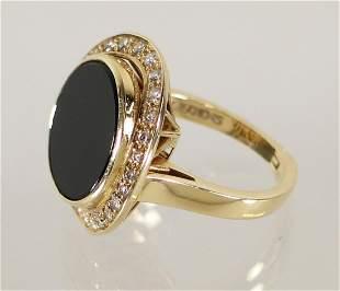 VINTAGE 14K BLACK ONYX & DIAMOND RING