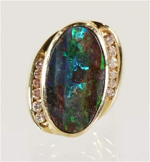18K BLACK OPAL & DIAMOND RING