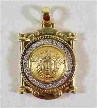 14K GOLD & DIAMOND MYTHOLOGICAL APOLLO PENDANT