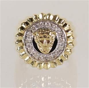 14K GREEK GOD ZEUS DIAMOND RING