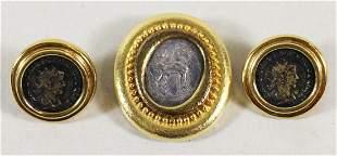 18K ANCIENT GREEK COIN EARRINGS & BROOCH