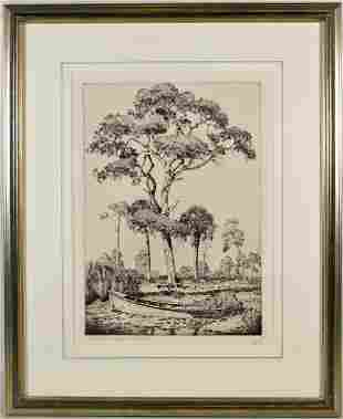 WALTER LOCKE ON THE BANKS OF THE ANCLOTE ETCHING