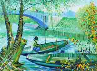 FISHING IN SPRING PAINTING AFTER VAN GOGH