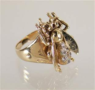 ANTIQUE 10-14K GOLD MINE CUT DIAMOND BEE RING