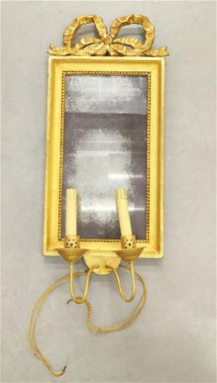 18TH CENTURY WALL MIRROR WITH CANDLE HOLDERS