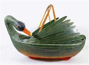 MID CENTURY CHINESE WICKER SWAN CENTERPIECE