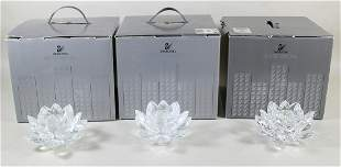 (3) SWAROVSKI WATER LILY CANDLE HOLDERS