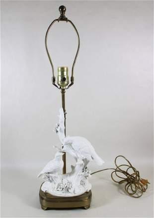 BLANC DE CHINE BIRDS ON BRANCH LAMP