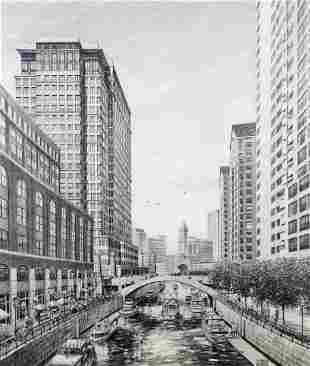 CHICAGO CITY PENCIL DRAWING