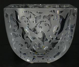 MICHAEL WEEMS ETCHED GLASS BOWL